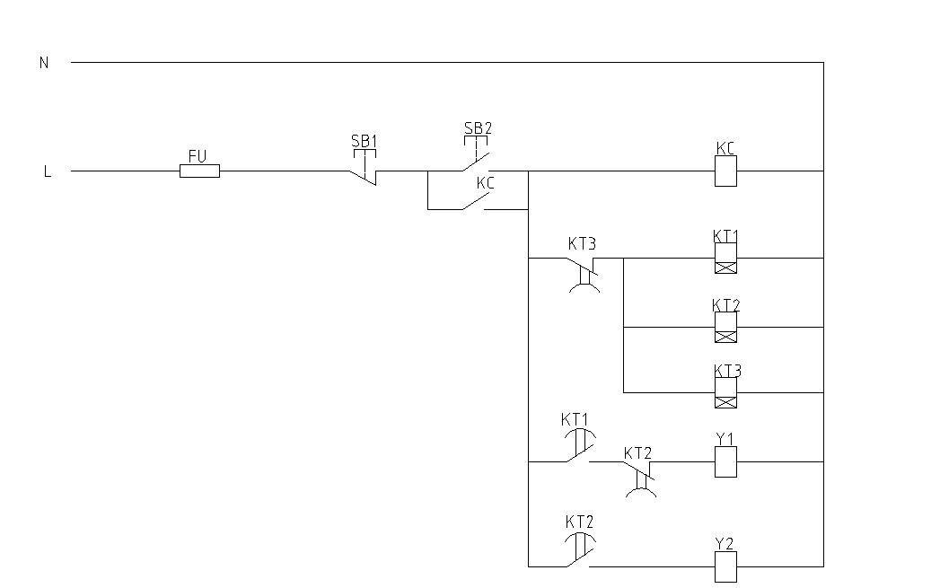 不能! KC得电自锁,KT1、KT2、KT3、同时得电,其中KT1延时10 分钟闭合,Y1才得电运行。再过(延时)10(10+10=20)分钟,KT2动作,断开Y1,同时接通Y2,Y1停止,Y2运行。再过10(10+10+10=30)分钟,KT3动作,同时切断所有KT回路,各KT复位。此时Y1还要等10分钟才能得电运行,重复前面的步骤,并不是立即循环轮流工作,除非你的要求就是这样的。 另外假如你就是需要这样控制,在选用时间继电器上要注意有些时间继电器断电立即再通电,其延时功能会不正常,很可能不会延时,你的