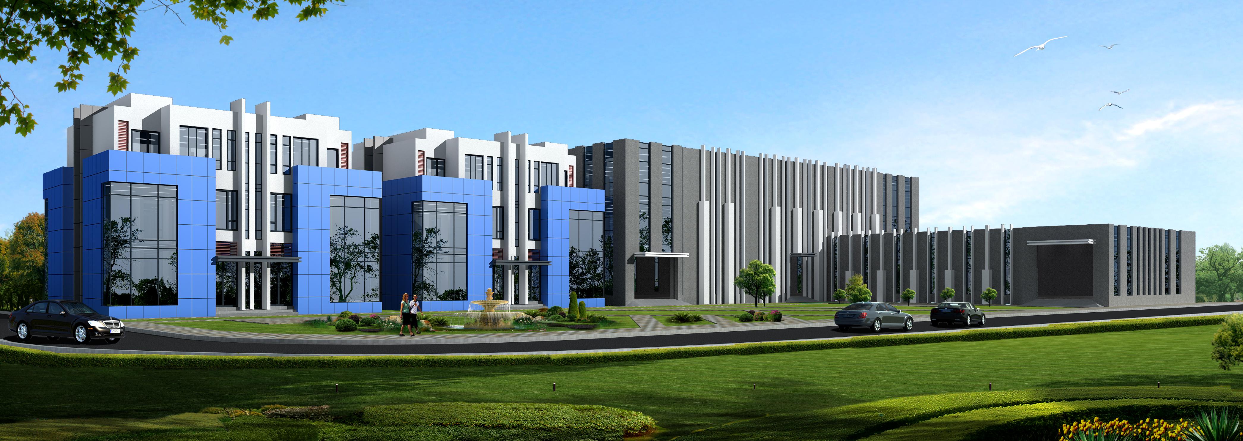 一张自己做的工厂办公楼效果图,求指导.