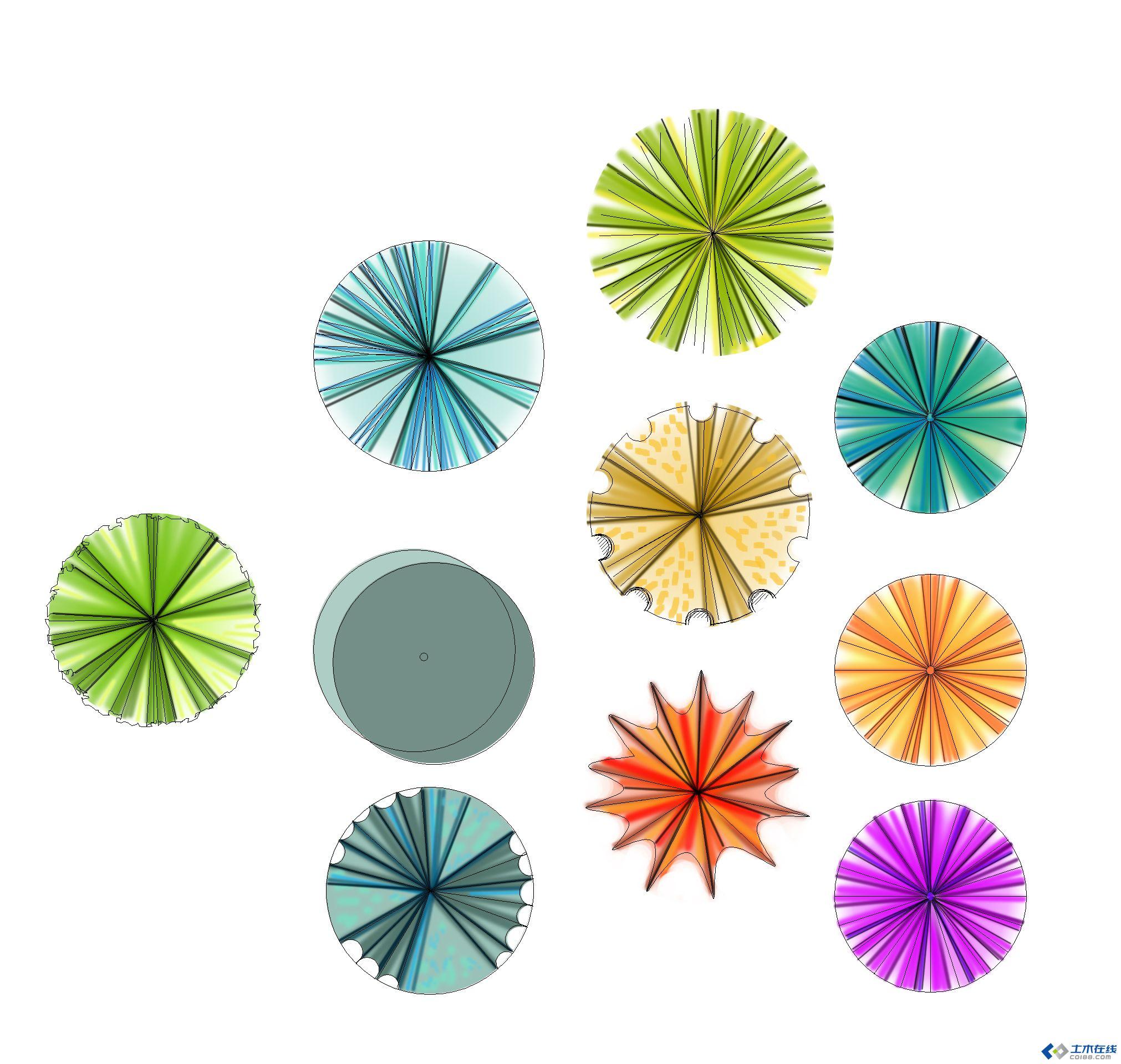 彩色平面用树psd格式