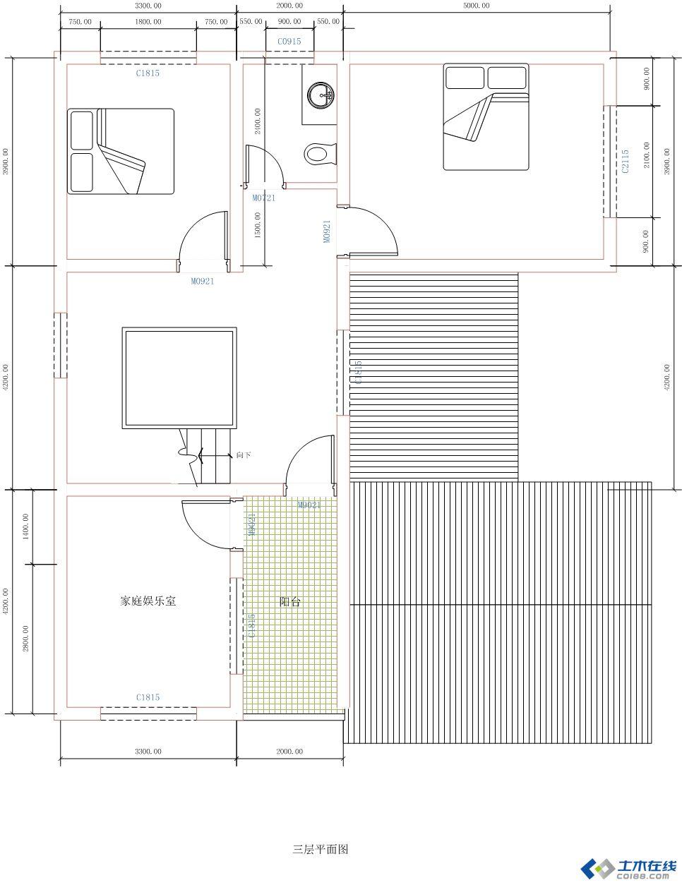 建筑设计 居住建筑 最简单的农村自建房平面图,请大家提宝贵意 .