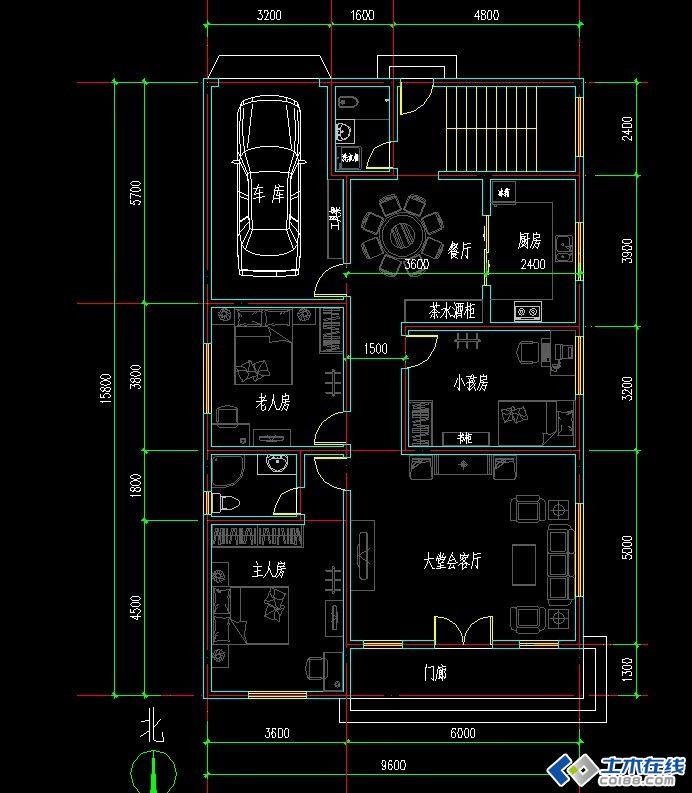 农村房屋设计图dwg