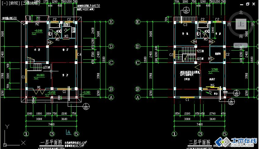 二层框架结构农村房屋设计图包含结构图占地尺寸7