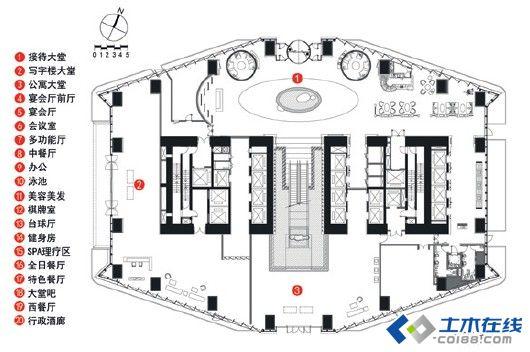 海控国际广场a 座因超高层建筑的自身结构特点,平面为点式布局,标准