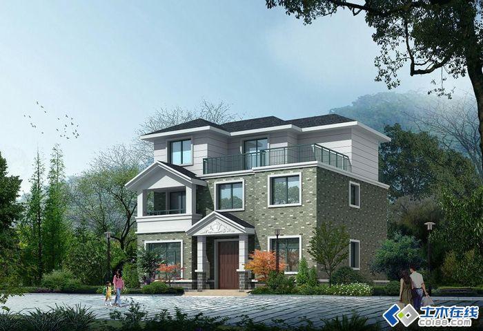 自己设计的农村三层别墅效果图及平面图
