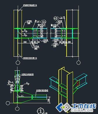 钢结构雨棚节点图