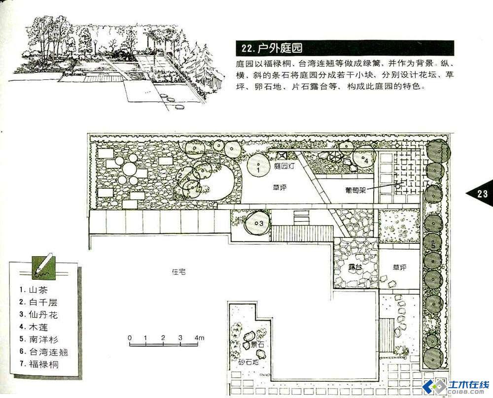 小庭院的平面图 可手绘 也可以su