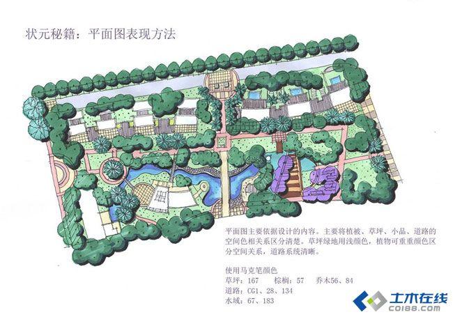园林绿化 景观效果图 多年总结的马克笔上色基础教程-色号为touch .