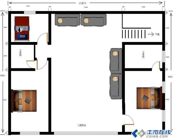 河北农村二层住宅,设计的平面图求指点
