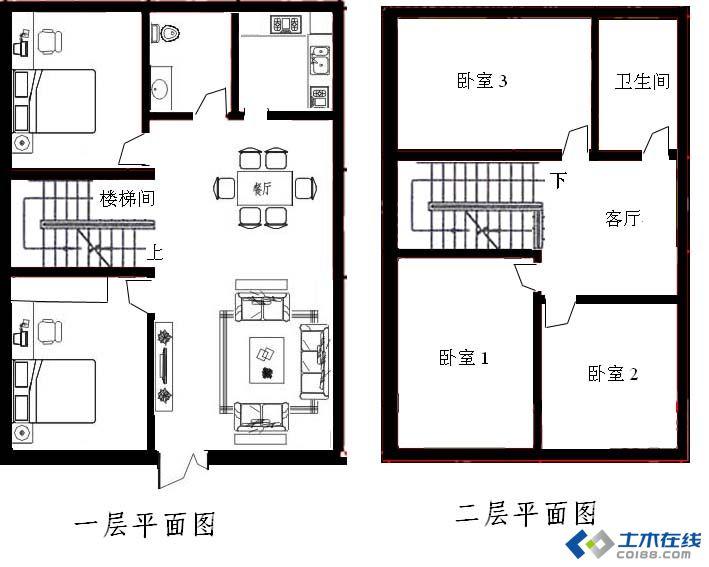 求助 90平方米房屋设计平面图 土木在线论坛
