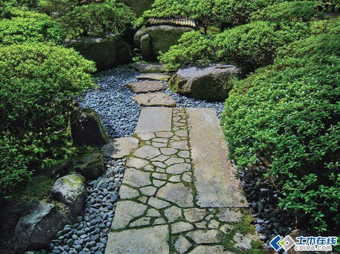 日式庭院跌水小品及步道景观