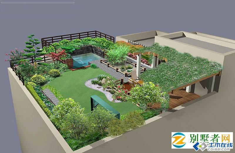 别墅屋顶花园绿化设计效果图
