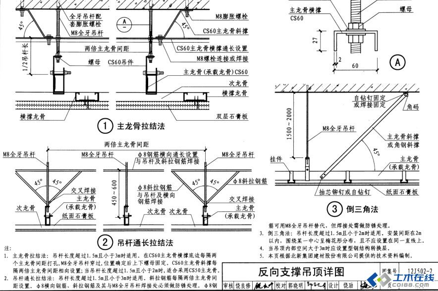 室内吊顶吊杆高度大于1.5米设置反支撑如何设置(反支撑间距及高度是多少)(图4)  室内吊顶吊杆高度大于1.5米设置反支撑如何设置(反支撑间距及高度是多少)(图7)  室内吊顶吊杆高度大于1.5米设置反支撑如何设置(反支撑间距及高度是多少)(图9)  室内吊顶吊杆高度大于1.5米设置反支撑如何设置(反支撑间距及高度是多少)(图12)  室内吊顶吊杆高度大于1.