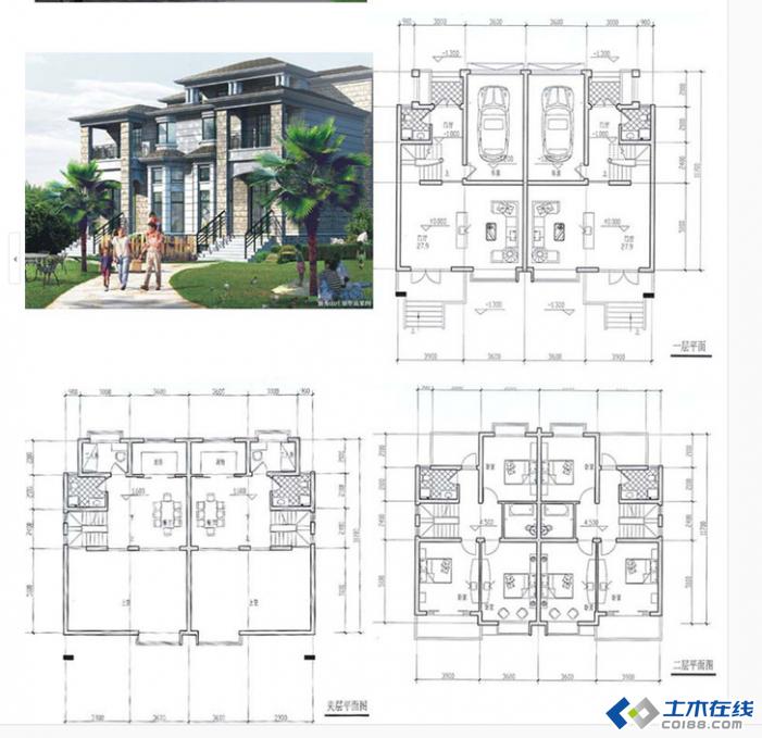3g的别墅设计图纸 新农村自建房cad建筑结构施工图及效果图