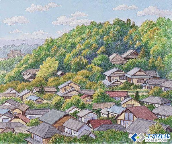 园林绿化 景观规划设计 辻本洋太郎日本乡村风景水彩