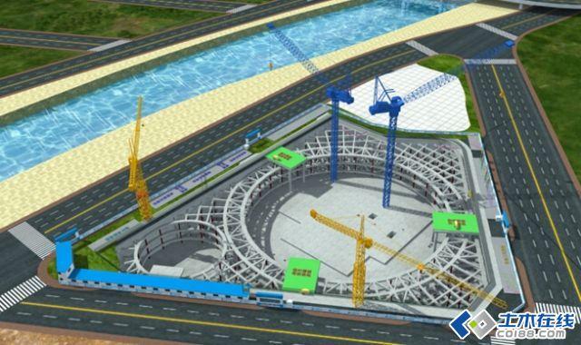 地标性建筑施工总体三维流程图