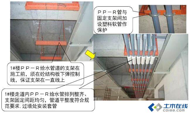 冷水管在下边;垂直安装时热水管在冷水管面向的左边;在卫生器具上图片