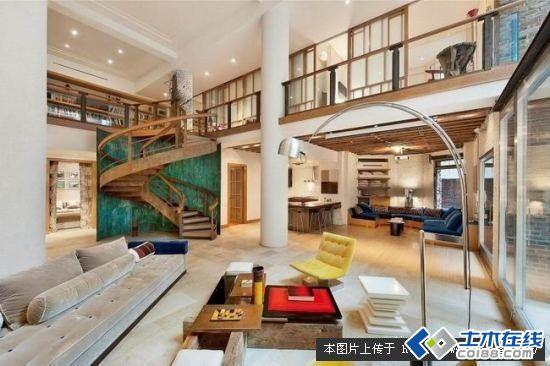 美国曼哈顿旋转楼梯复式公寓设计图片http://bbsfile