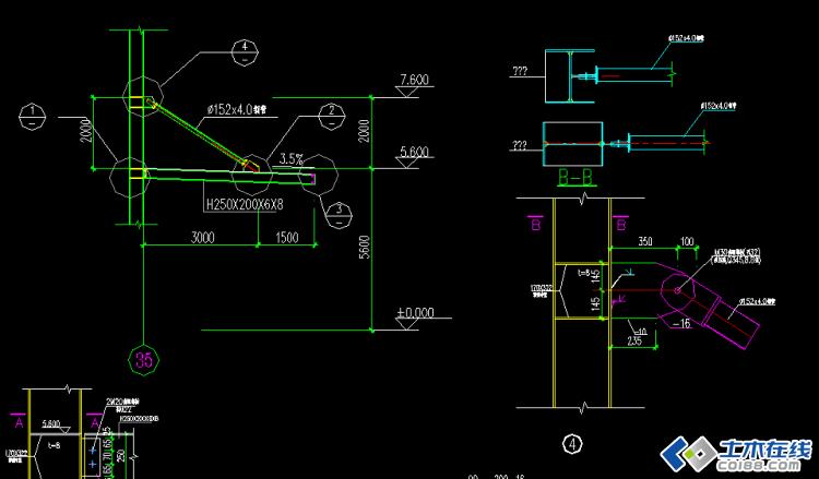 1,用pkpm按照正常的钢结构二维门架设计,手动画上雨棚,拉杆和雨棚梁
