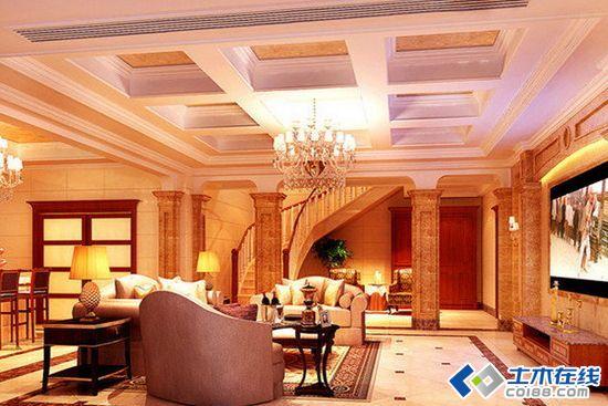 欧式别墅客厅装修效果图展示高清图片