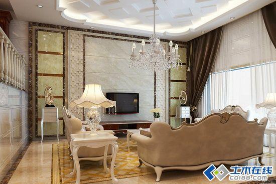 欧式别墅客厅装修效果图展示