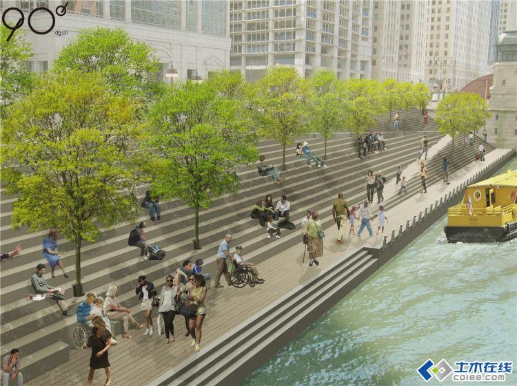 芝加哥滨河步道的景观设计效果图