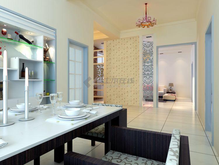 温馨简洁三居室商品房室内装修施工图cad图纸下载附效果图