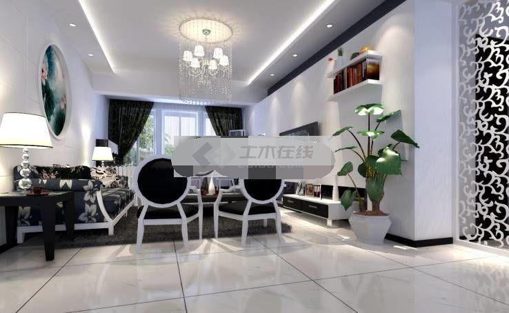 黑白经典简约风格三室两厅室内装修设计图纸含效果图