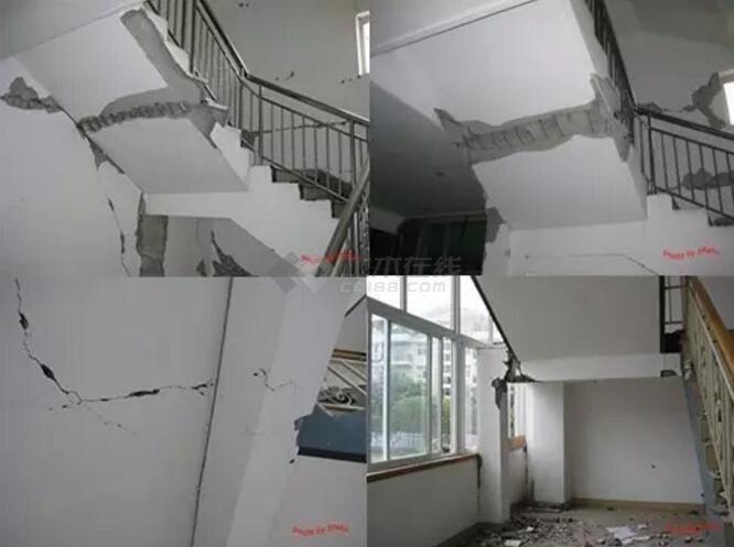2010年4月14日玉树地震中框架结构的楼梯震害与汶川地震类似,楼梯