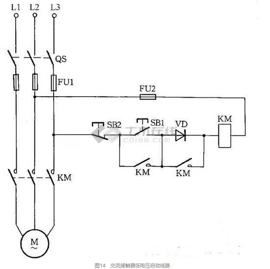 当供电电压在交流接触器吸引线圈额定电压的85%以下时,启动接触器