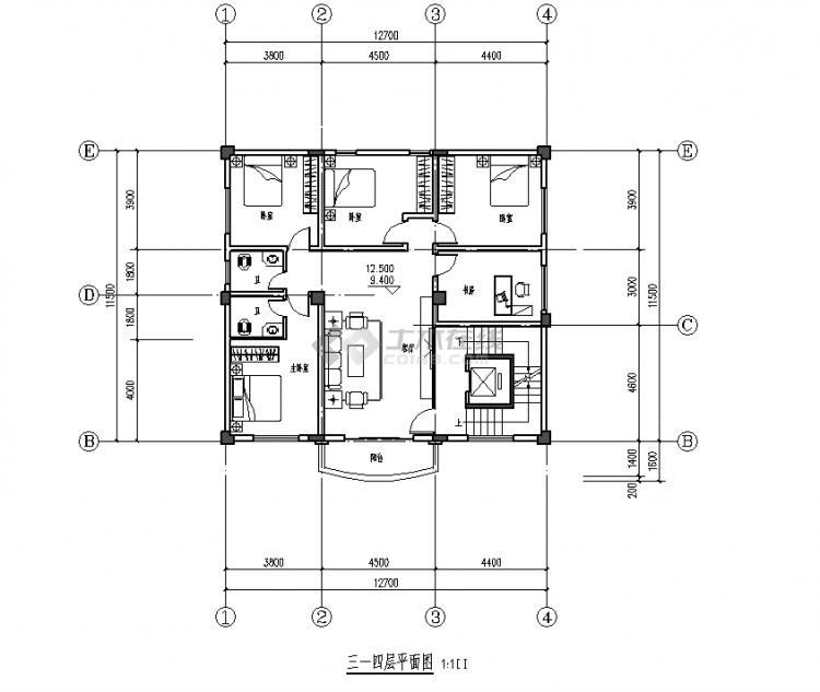 三-四层平面图
