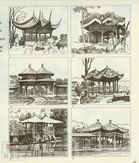 北方亭子手绘图