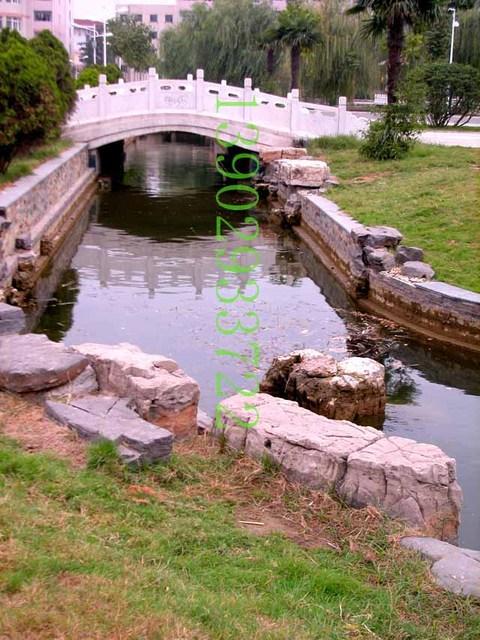 河边驳岸石 桥 亭