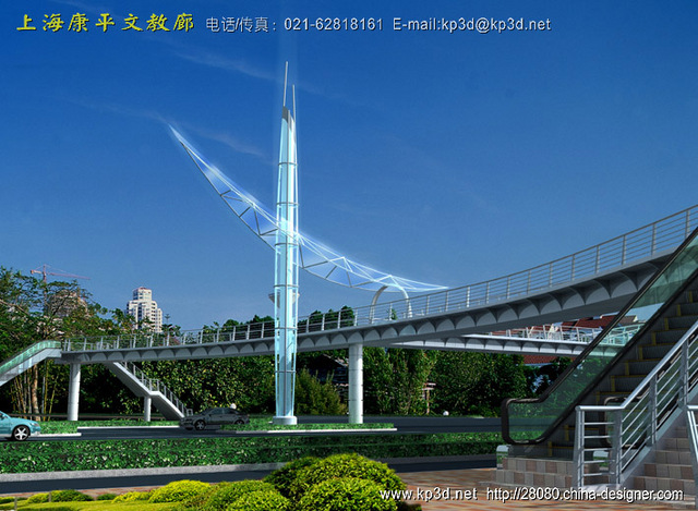 一组人行天桥的建筑景观方案效果图片