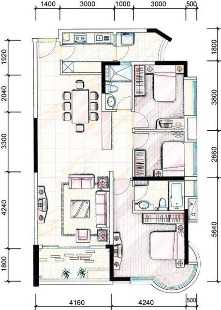 发一套室内设计平面布置图
