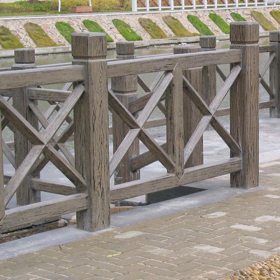 室外防腐木栏杆实景高清照片