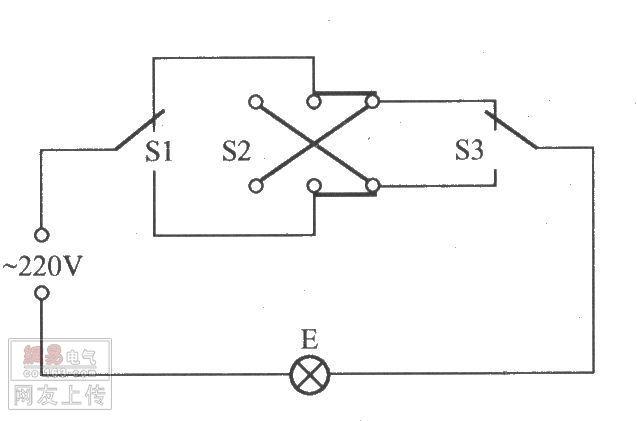 双控电灯开关接线图,三控/五控电灯开关接线图