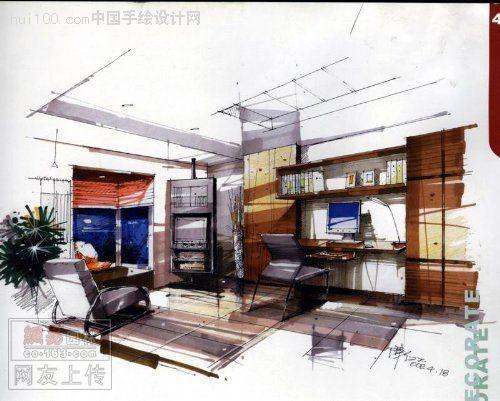 陈红卫手绘客厅效果图  -陈红卫手绘作品