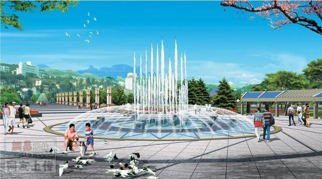 素材共享 【ps+3d】公园广场景观效果图