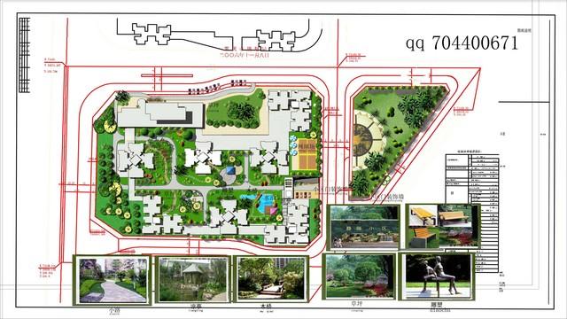 一个经济适用房小区景观平面规划效果图