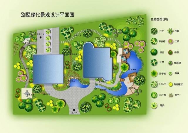 一张别墅景观设计平面图