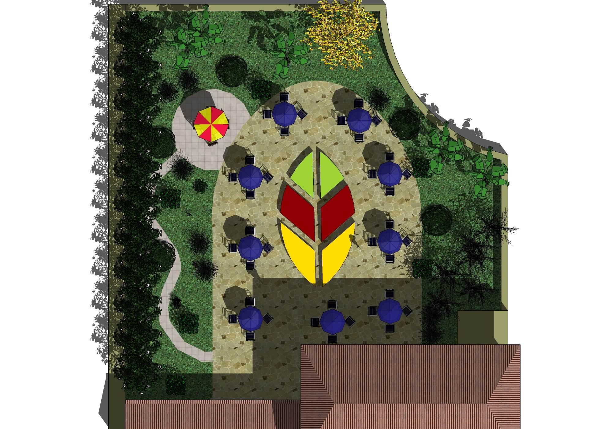 屋顶花园效果图平面图  -最近做的酒店屋顶花园模型和效果图 土木在线高清图片