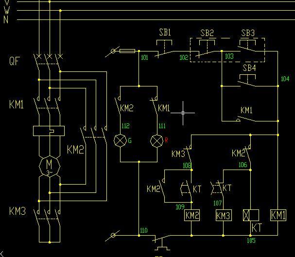 C705型交流电动机星三角起动控制原理图