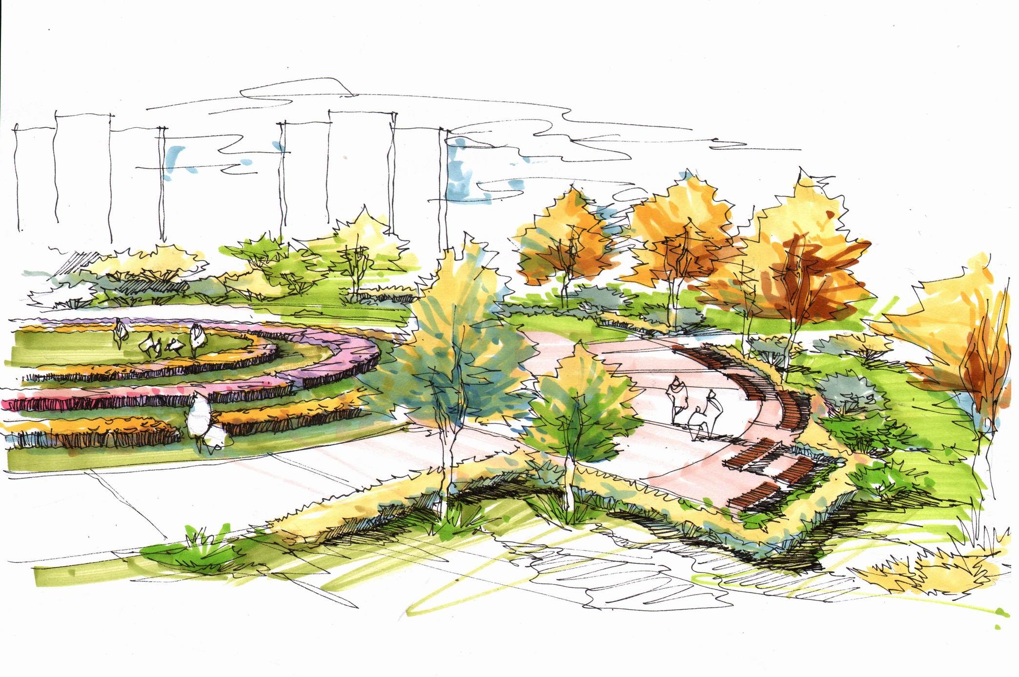 园林绿化 景观效果图 园林景观手绘效果图  想问问各位高手 道路cad施