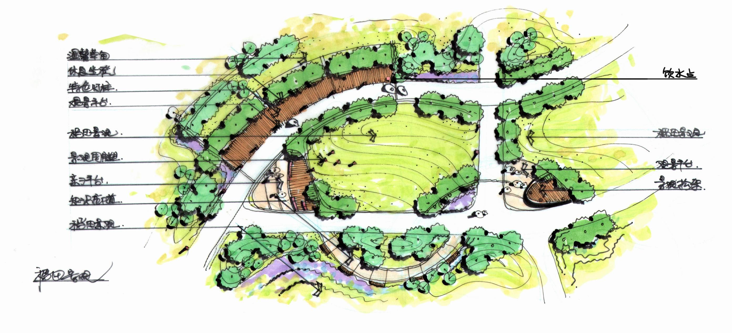 商业街、公园、广场、学校景观方案设计,手绘效果图设计.