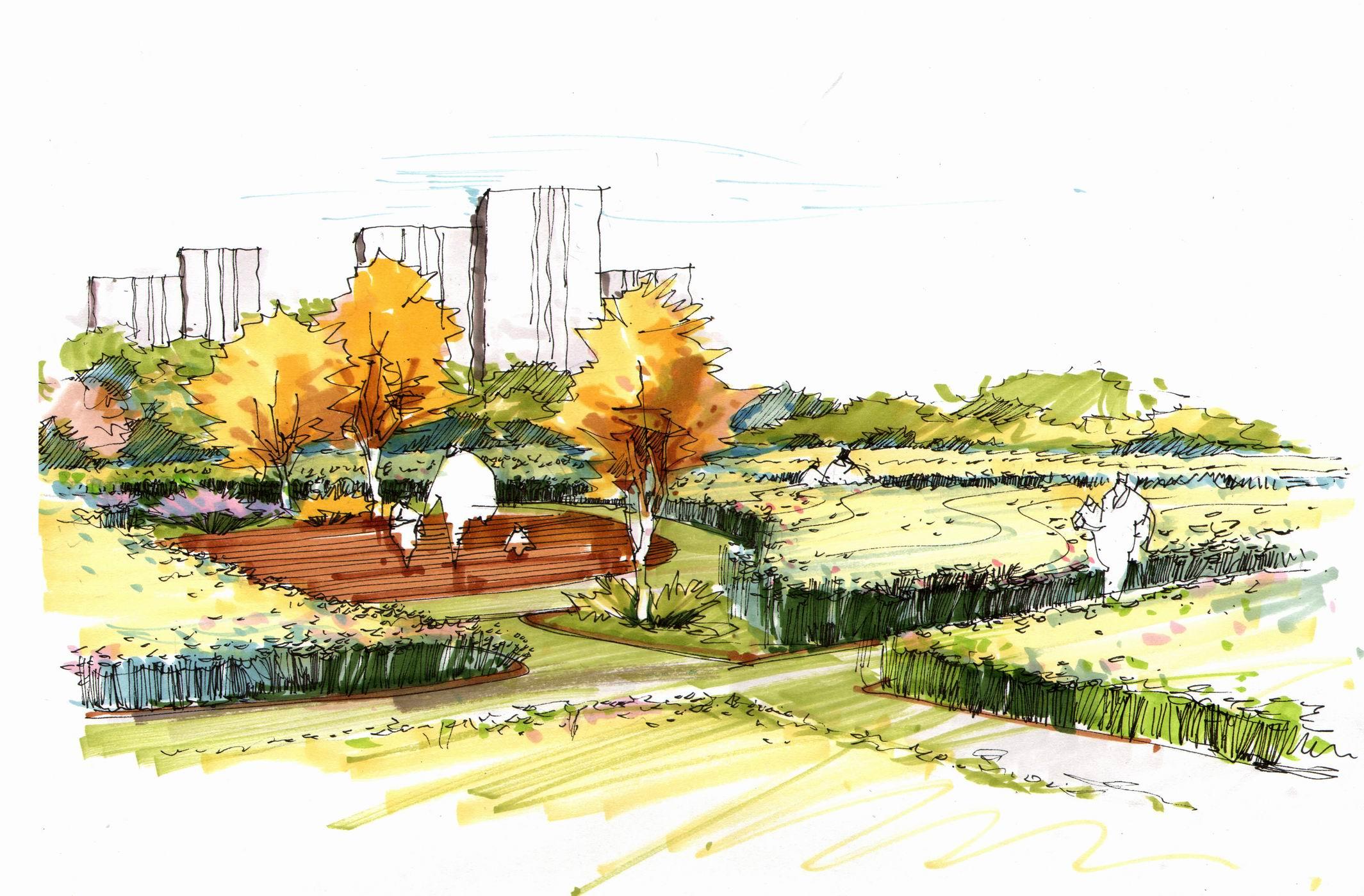 公园、广场、学校景观方案设计,手绘效果图设计.   承接景观