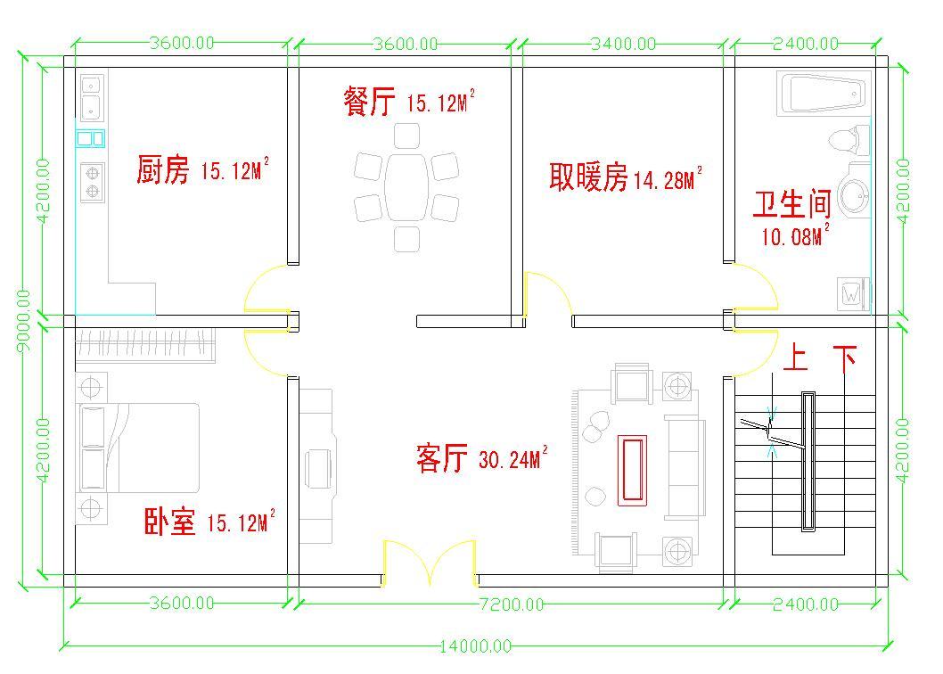 农村二层房屋平面图