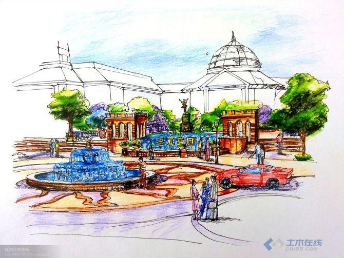 广场手绘景观效果图,自己临摹的