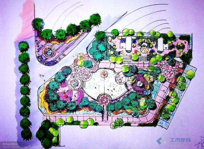 广场手绘景观效果图,自己临摹的 土木在线论坛