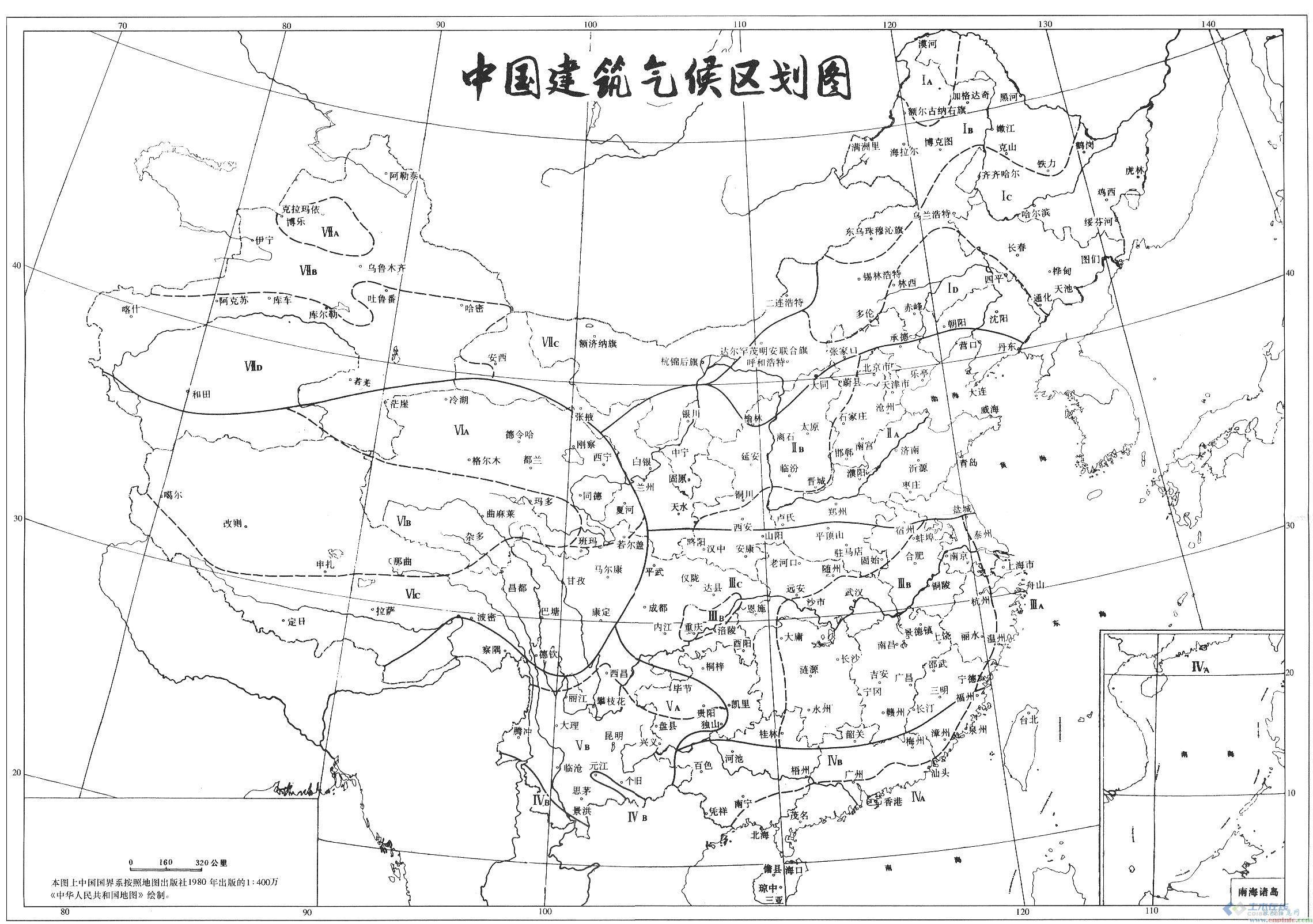 中国建筑气候区划图