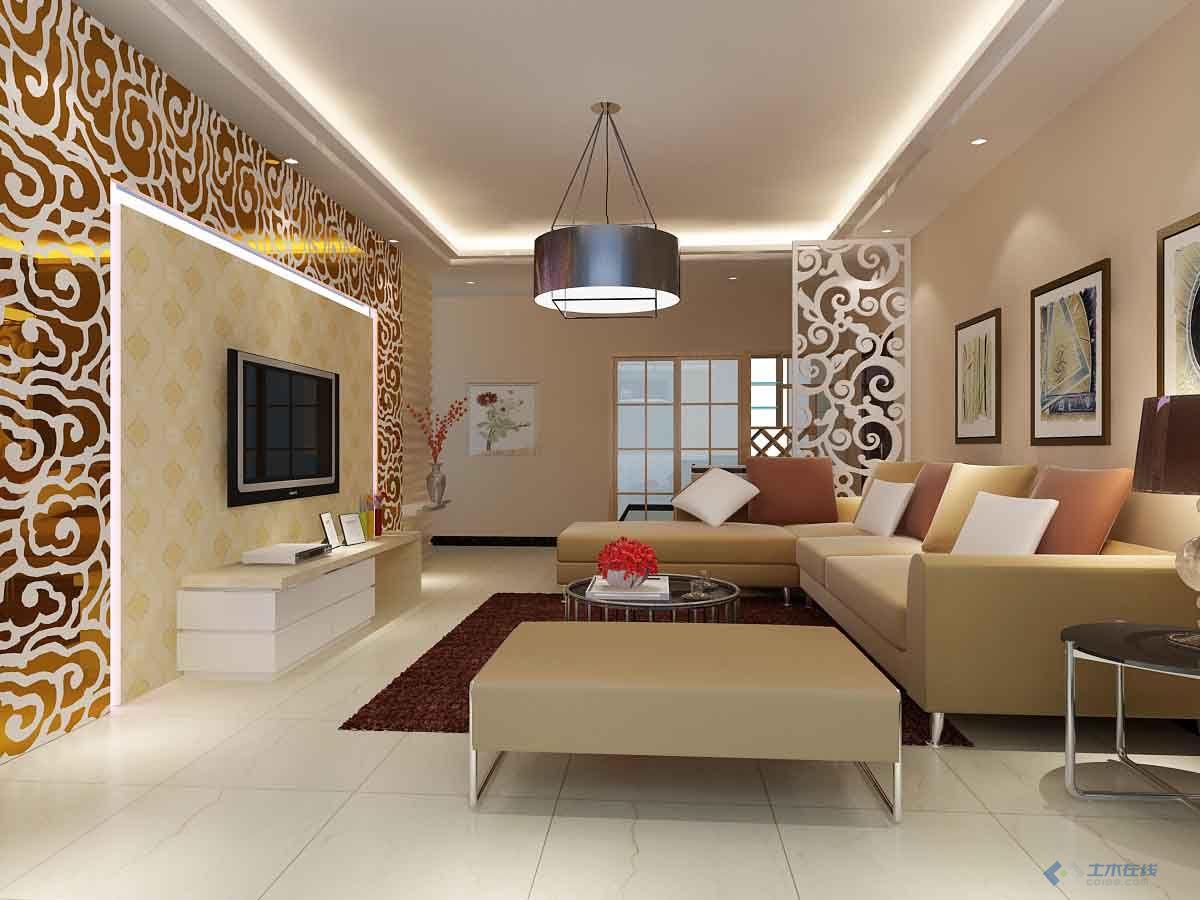 一个现代风格的客厅效果图,值得一看.